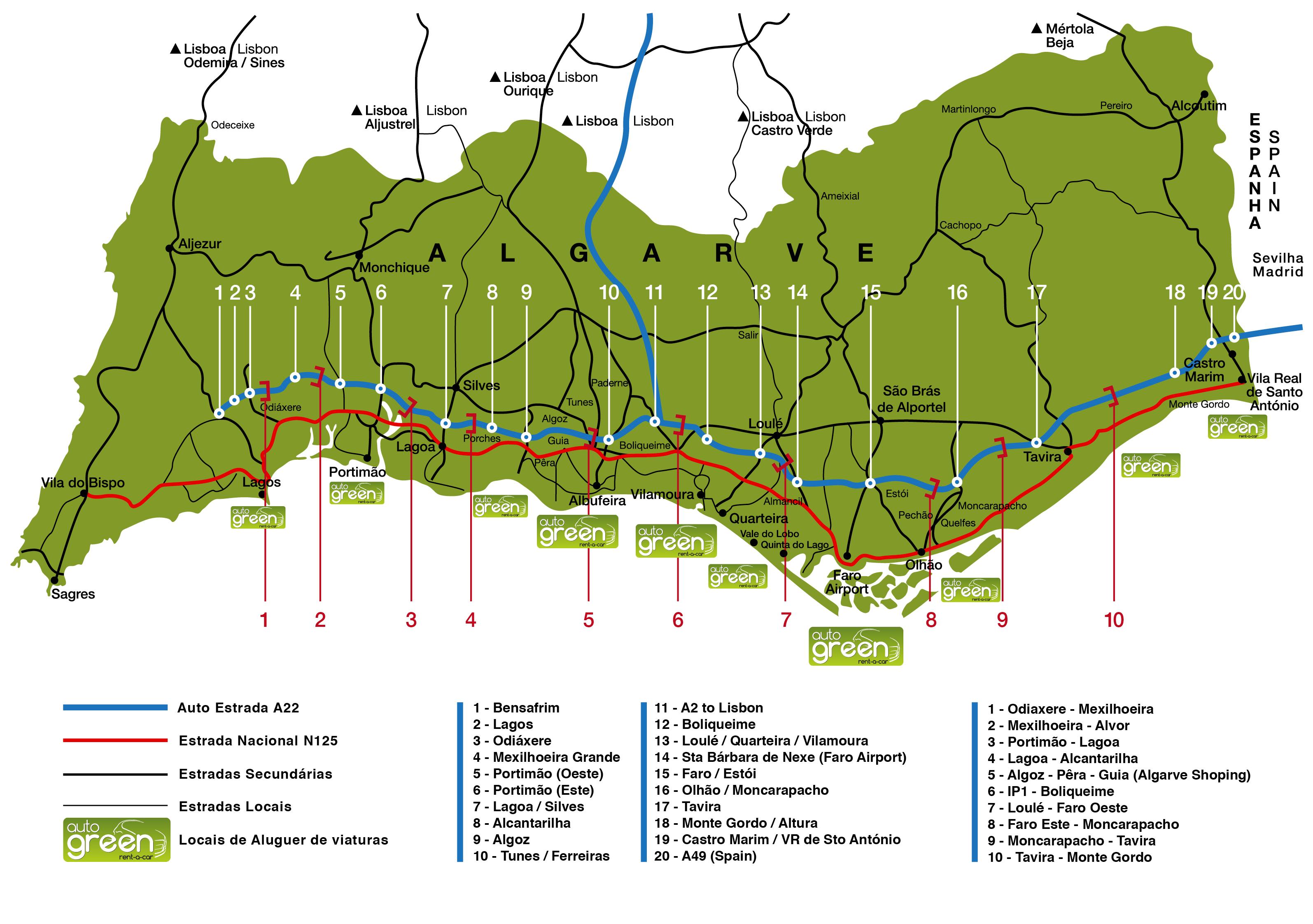 mapa de estradas algarve Auto Green   Auto Estrada A22 / Estrada Nacional EN125   Algarve mapa de estradas algarve